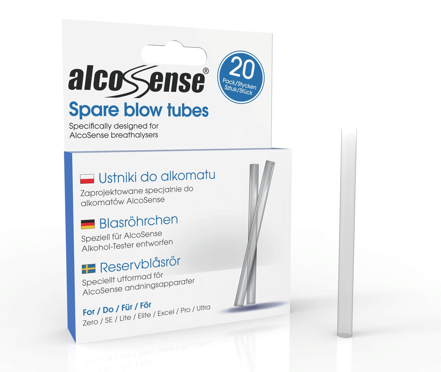 AlcoSense Alcohol Tester Blow Tubes x20 For AlcoSense Elite /& Lite Breathalysers