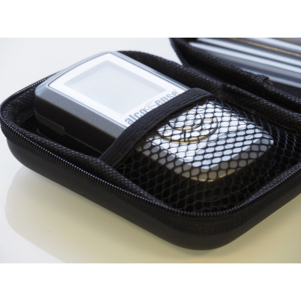 Netting keeps your AlcoSense Elite or Lite secure. Pro fits in the other side of the case.