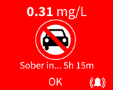 Sober in time shown with results, press the bell icon to set a re-test reminder